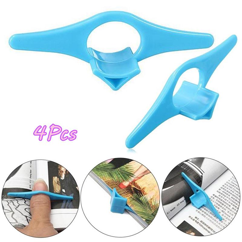 4PCS Multifunction Finger Ring Reading Assistant Book Support Portable Thumb Book Marker Bookmarks Page Holder Blue