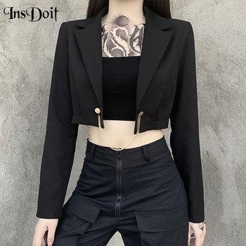 Женский Повседневный костюм InsDoit, черный пиджак с металлической цепочкой, винтажный осенний блейзер с длинными рукавами, уличная одежда ...