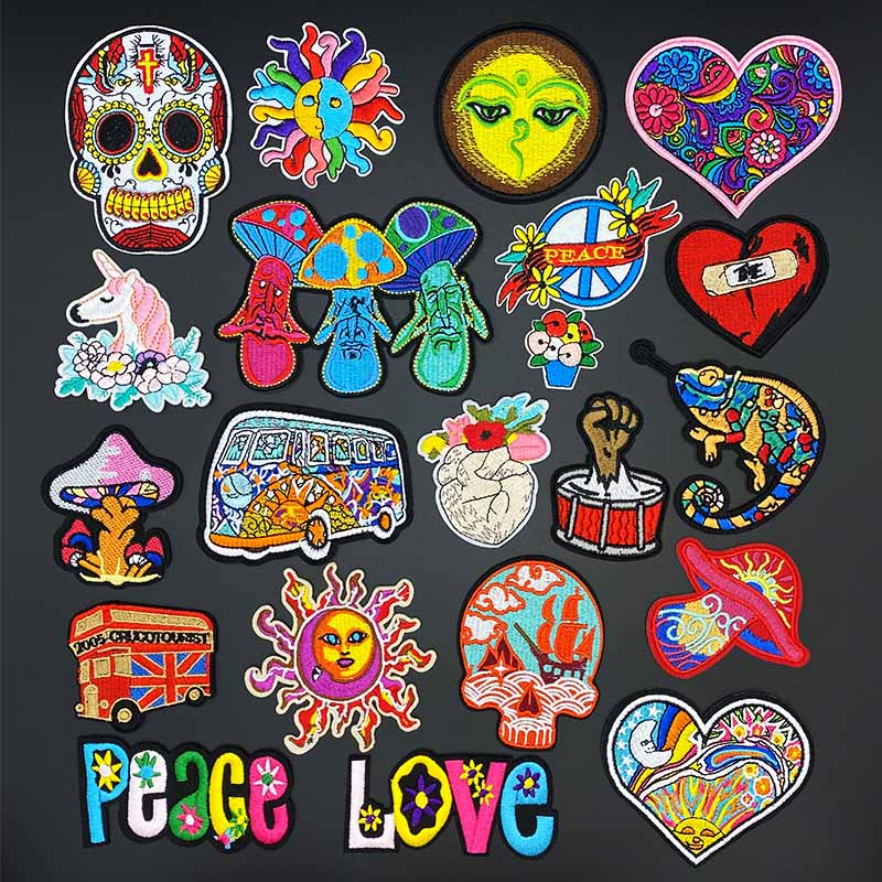 Mushroom love bus Skull Patches for Clothing Punk Patch Badges Iron On Stickers Embroidered Decorative DIY Jacket Jeans