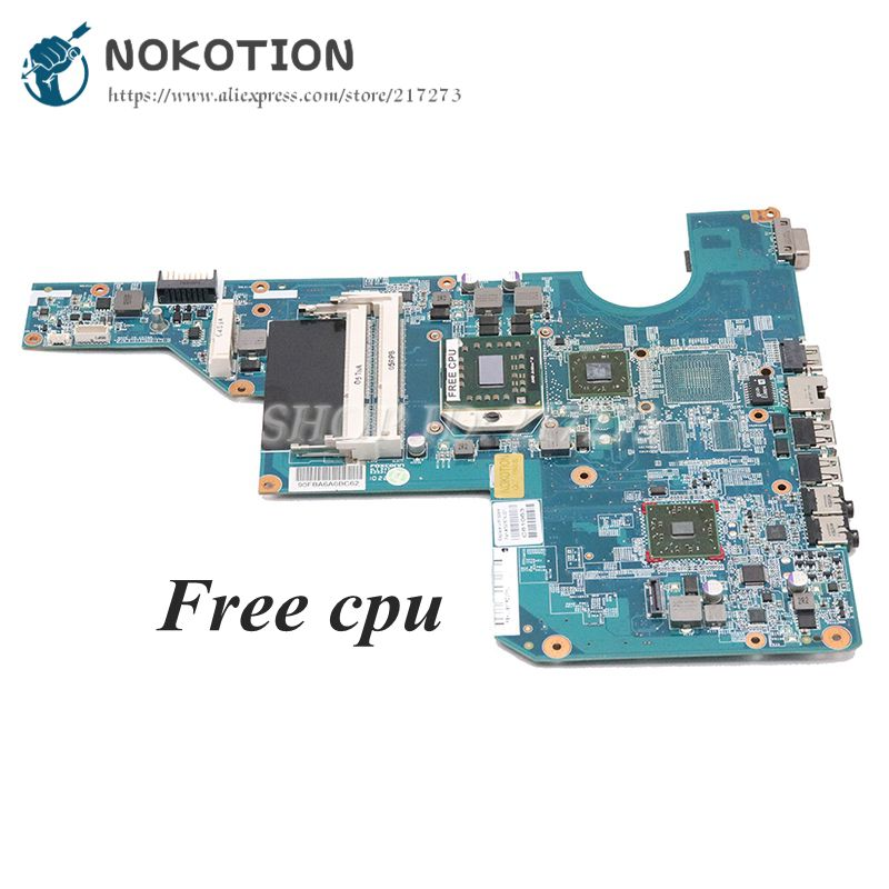 NOKOTION 597674-001 MAIN BOARD For HP CQ62 G62 Laptop Motherboard Socket S1 DDR3 With Free Cpu