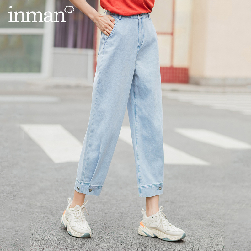 INMAN 2020 Summer New Arrival Leisure Tint Wash Adjustable Trouser Legs Ankle Length Jeans