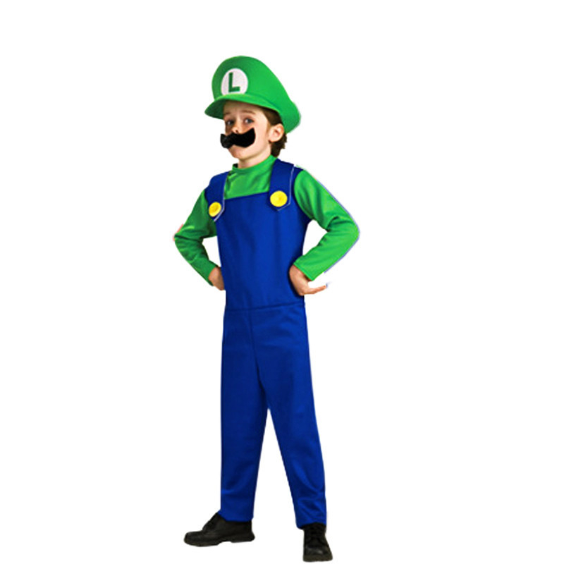 Super Luigi Brother Costume for Kids Halloween Costumes Funny Clothes Ma Cosplay for Boys Girls Fantasia Jumpsuit 5