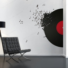 cute jazz wall sticker wall decal sticker home decor home decor children house wall decoration murals Record Blowing Music wall decal  Music Decoration Music wall sticker vinyl home wall decor JH393