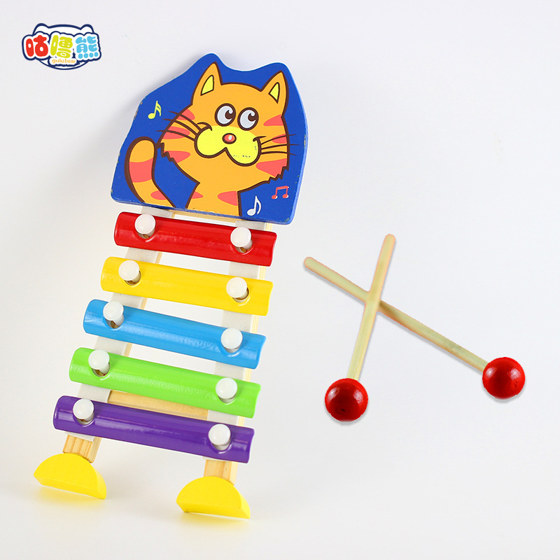 Wholesale Wooden Children Toy Piano Educational Force Toy Manufacturers Direct Selling Fun Octave Piano Animal Music Box