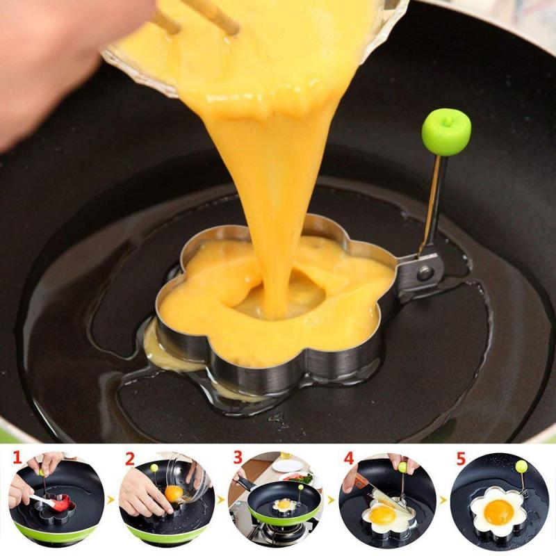 5 Shapes Non Stick Flipping Pancake Maker Stainless Steel Mold Creative Breakfast Omelette Mould Kitchen Cooking Accesory