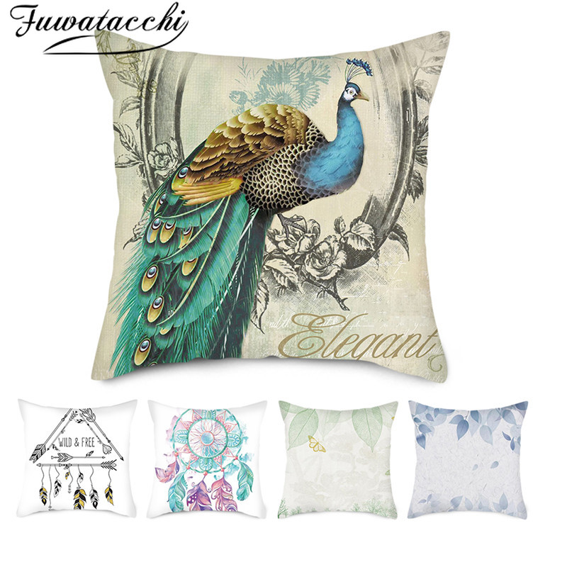 Fuwatacchi Beautiful Animal Cushion Covers Colorful Peacock Pillow Cases Cotton For Bedroom Sofa Decorative Pillow Covers 45*45