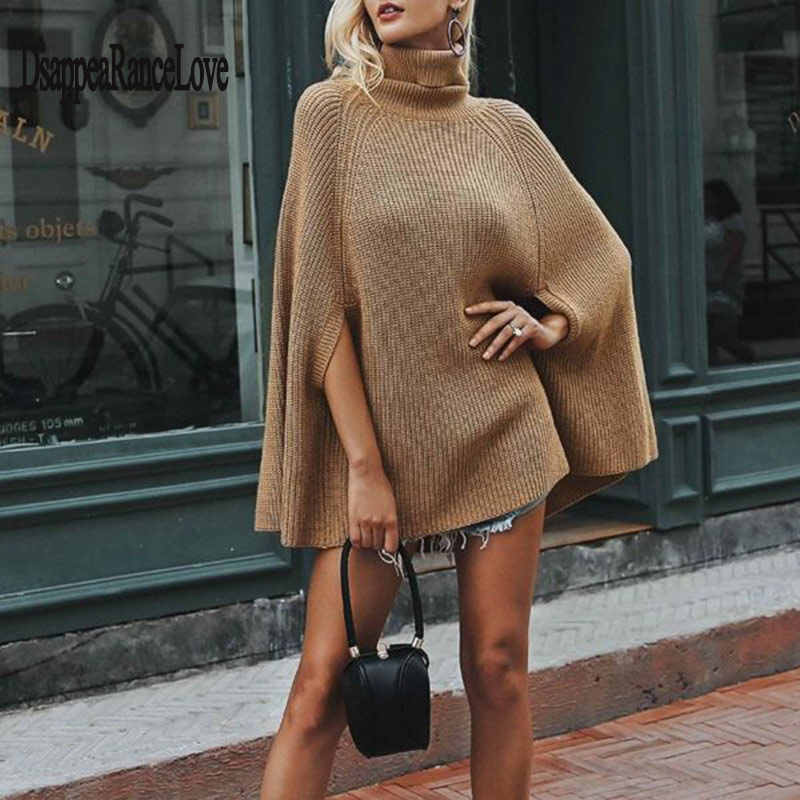 Autumn Winter Women Turtleneck Capes Casual Pullover Knitting Sweater Shawl Loose Plus size Solid color Poncho Coat cape femme
