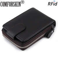 COMFORSKIN Genuine Leather RFID Card Wallet With Coin Purse New Arrivals Casual Style Credit Card Holders Hot Sales Card Cases