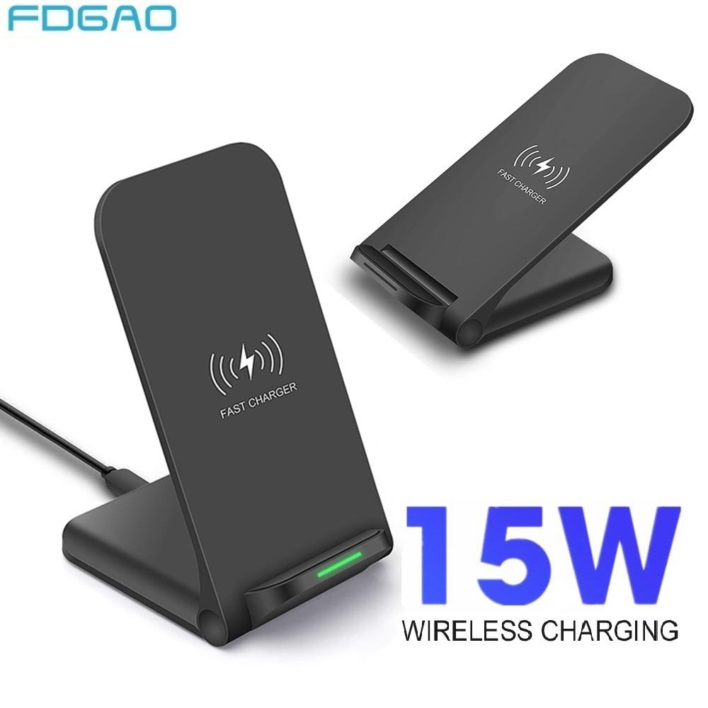 FDGAO 15W Qi chargeur sans fil Dock de Charge rapide pour Samsung S10 S9 Note 10 support de Charge rapide pour iPhone 11 Pro XS Max XR X