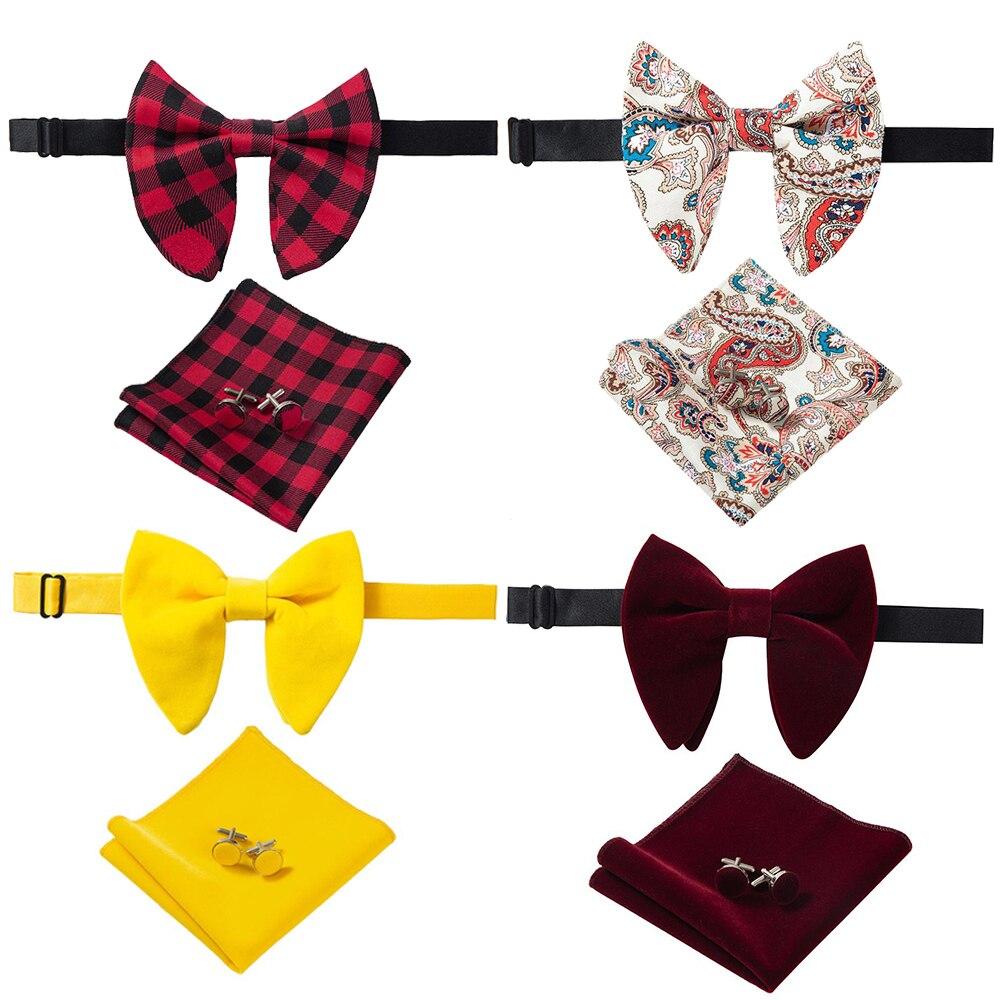 Ricnais New Arrival Velvet Big Bowties For Man Solid Handkerchief Cufflinks Bow Tie Set Red Yellow Men's Neck Ties For Wedding