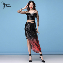 Practice Clothes Autumn And Winter New Sexy Net Yarn Beads Bright Hip Scarf Belly Dance Suit Beginner