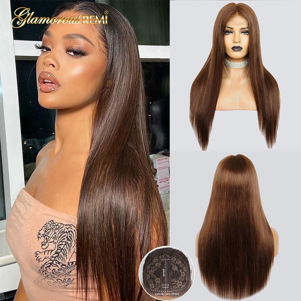 Parte brasileira do laço perucas de cabelo humano colorido parte reta peruca do laço com o cabelo do bebê para a densidade 150 remy cabelo pré-arrancado #4
