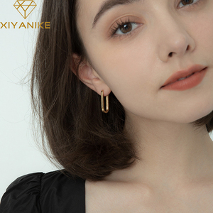 XIYANIKE 925 Sterling Silver New Trendy Geometric Oval Hoop Earrings Female Temperament Fashion Handmade Jewelry Couple Gifts