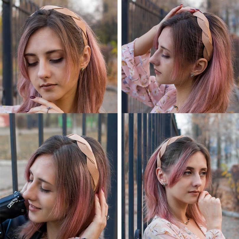 AWAYTR אופנה קוריאה אריגת צורת רך סרט שיער לנשים Bezel בנות שיער אביזרי פשוט שיער לולאה