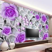Custom wallpaper 3d mural purple rose petals falling stereo circle fashion background wall papers home decor 3D