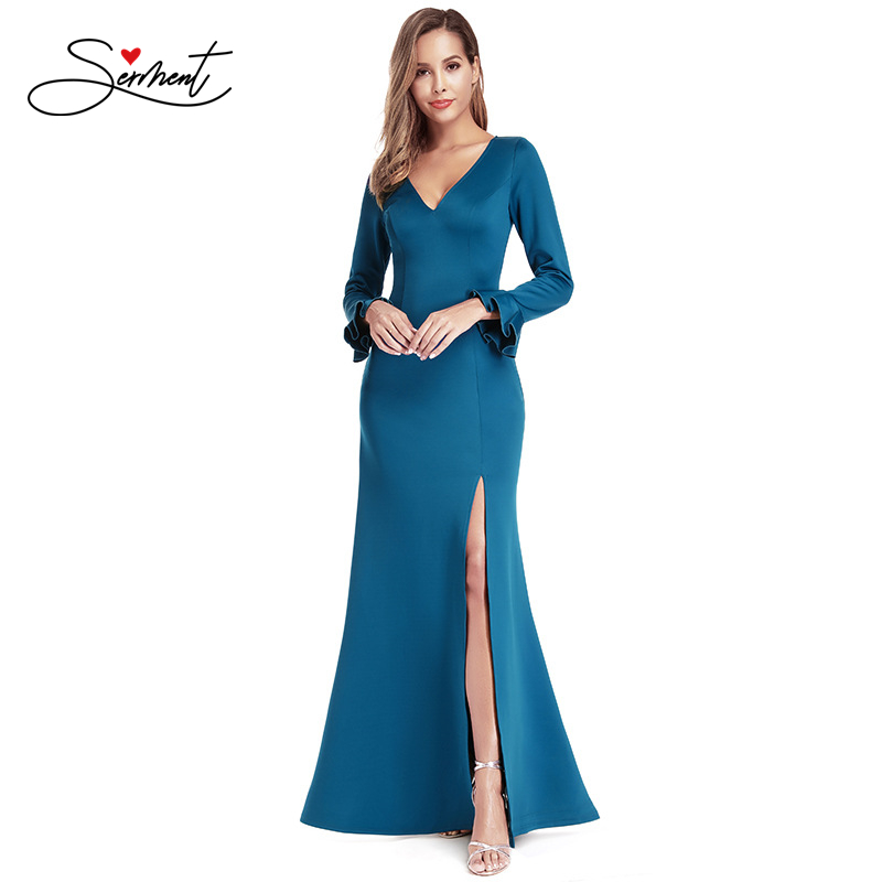 OLLYMURS New <font><b>Elegant</b></font> Woman Evening Gown V-neck Flared Long-sleeved Split Sexy <font><b>Plus</b></font> <font><b>Size</b></font> Evening <font><b>Dress</b></font> Suitable for <font><b>Formal</b></font> Partie image