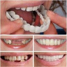 3 шт. имитации зубных протезов верхние зубы нижние зубы коробка держать улыбку комфорт подходит косметические зубные протезы зубы верхний шпон