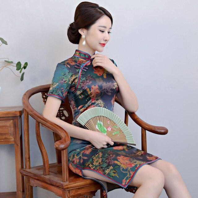 2020 Vestido De Debutante seda moda Collar chino Cheongsam Gusang mejorado Vestido largo Qipao al por mayor cultivar la moralidad
