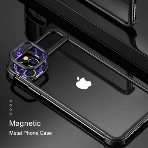 Image 2 - New Metal Frame Phone Case For Iphone11 11pro Magnetic Attraction Bare Machine Feel Drop proof Phone Cover For Iphone11 pro max