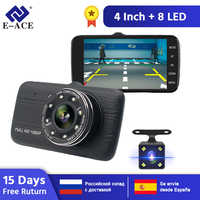 """E-ACE voiture Dvr caméra 4.0 """"Full HD 1080P Dash Cam enregistreur automatique double lentille Vision nocturne avec caméra de vue arrière enregistreur vidéo"""