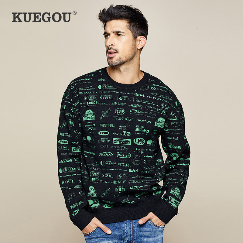 KUEGOU 2019 Autumn Letter Patchwork Black Sweater Men Pullover Casual Jumper For Male Brand Knitted Korean Style Clothes 1790