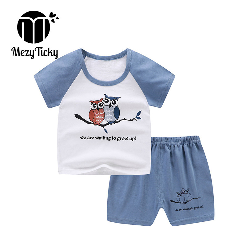 Summer Boys Girls Cotton T-shirt Pants 2pce Set Clothes Baby Toddler Outdoor Sports Casual Kids Clothing Suit Children Costume