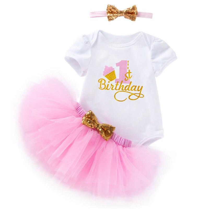 Vestido de cumpleaños de 1 a 2 años, conjunto de 3 uds. Para niñas pequeñas, tutú de encaje de un año, falda con diadema