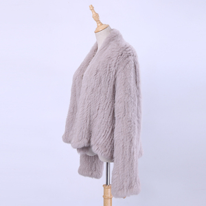 Image 2 - Вязаный кроличий мех кардиган, Жакет ручной работы, нестандартный воротник, вязаная верхняя одежда, жилет, 2020