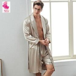 Xifenni Sexy seda hombre bata de dormir pantalones cortos establece primavera nuevo satén seda ropa de dormir masculino de manga larga Faux seda albornoces 2824