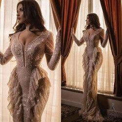 2020 Spring Prom Dresses Unique Full Beads Ruffled Mermaid Evening Dress Long Sleeve V Neck Arabic Formal Gown robe de soiree