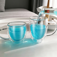 New 1Pcs 100-400mL Double-layer Heat Resistant Transparent Glass Cup Office Coffee Tea Whiskey Wine Mug With Handle Drinkware