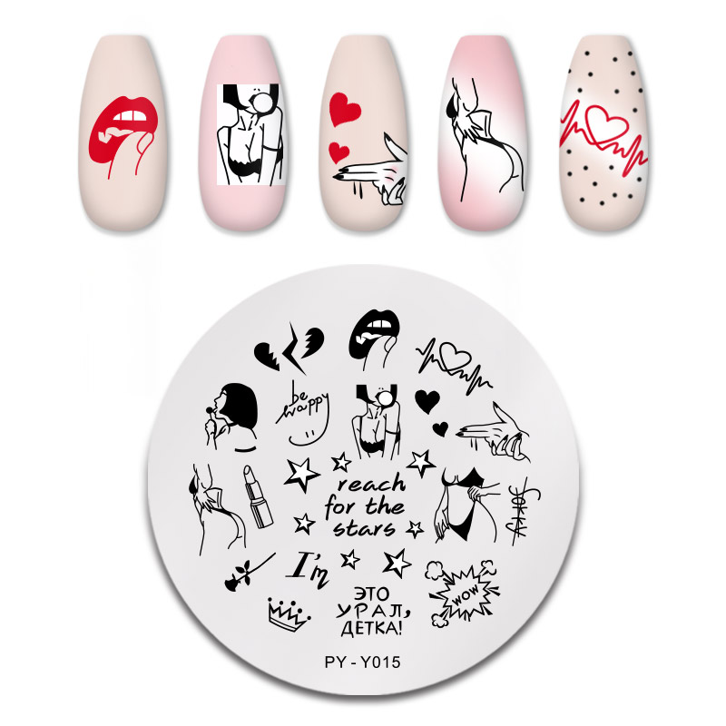 PICT YOU Magic Red Sexy Girl Love Stars Image Nail Stamping Plates Templates Stencil Accessories Tools For Nails DIY