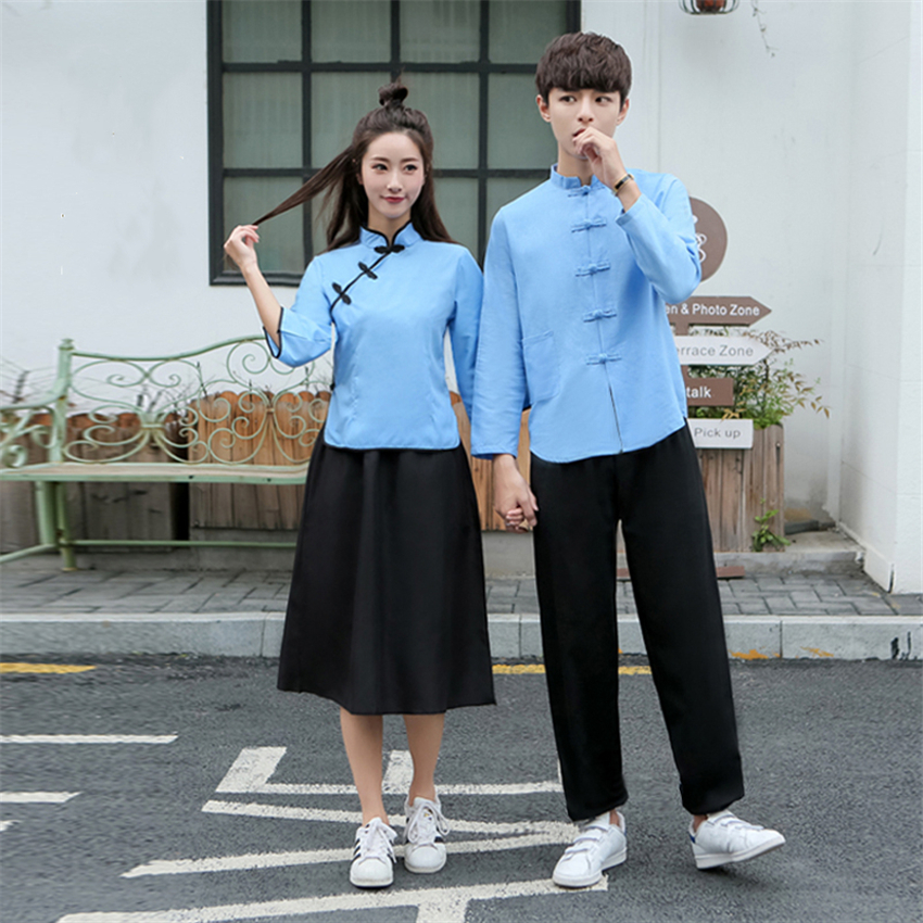 Chinese Traditional Style Woman Clothing Set Stage Performance Costumes Man Linen Tunic Suit Student School Uniform Tang Suit