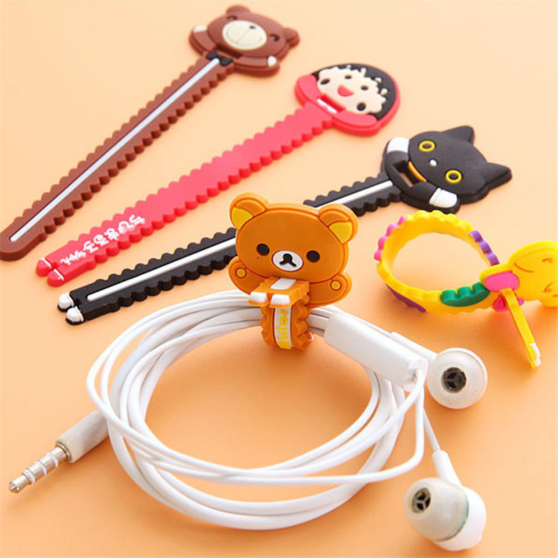 6PCS Cute Cable Organizer Wire Winder Clip Earphone Holder Mouse Cord Protector USB Cable Management For IPhone Micro USB Type C