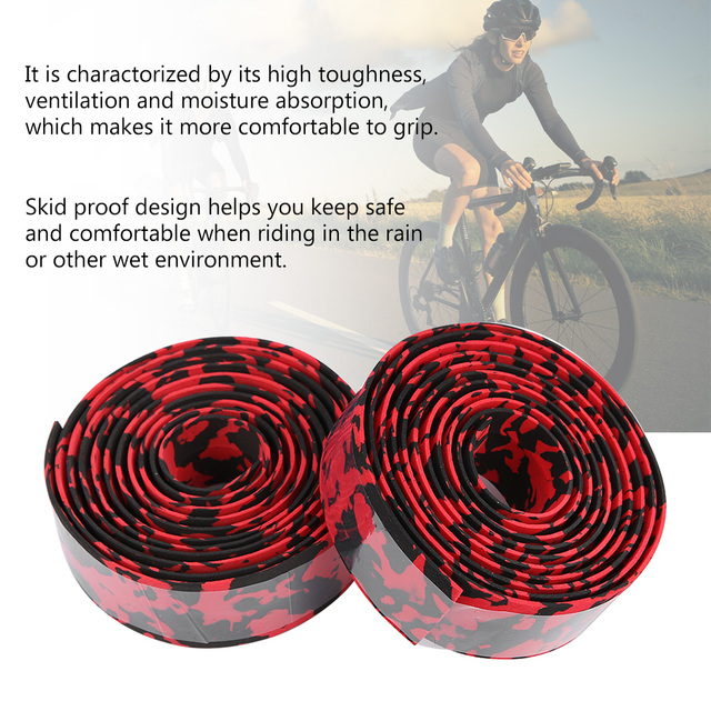 Road Bike Bicycle Handlebar Tape Camouflagebelt Cycling Handle Belt Cork Wrap with Bar Plugs non slip absorb sweat 5