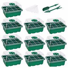 4 #10-pack semente starter bandejas berçário vasos bandeja de mudas umidade ajustável interruptor decoração do jardim acessórios 12 células por bandeja