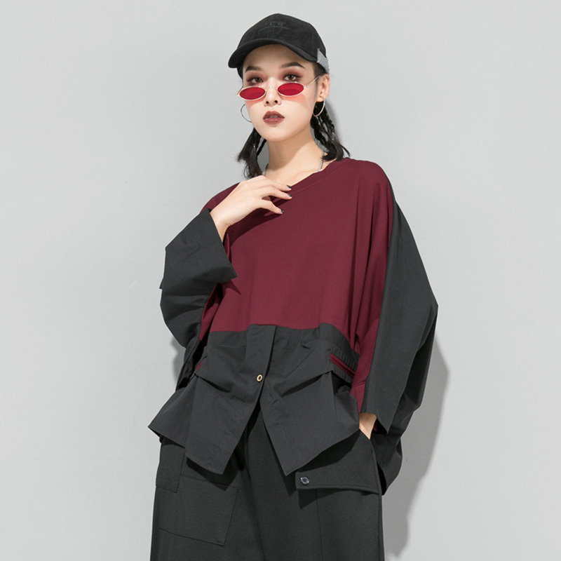 [EAM] Loose Fit Contrast Color Oversized Sweatshirt New Round Neck Long Sleeve Women Big Size Fashion Spring Autumn 2020 1D716 2
