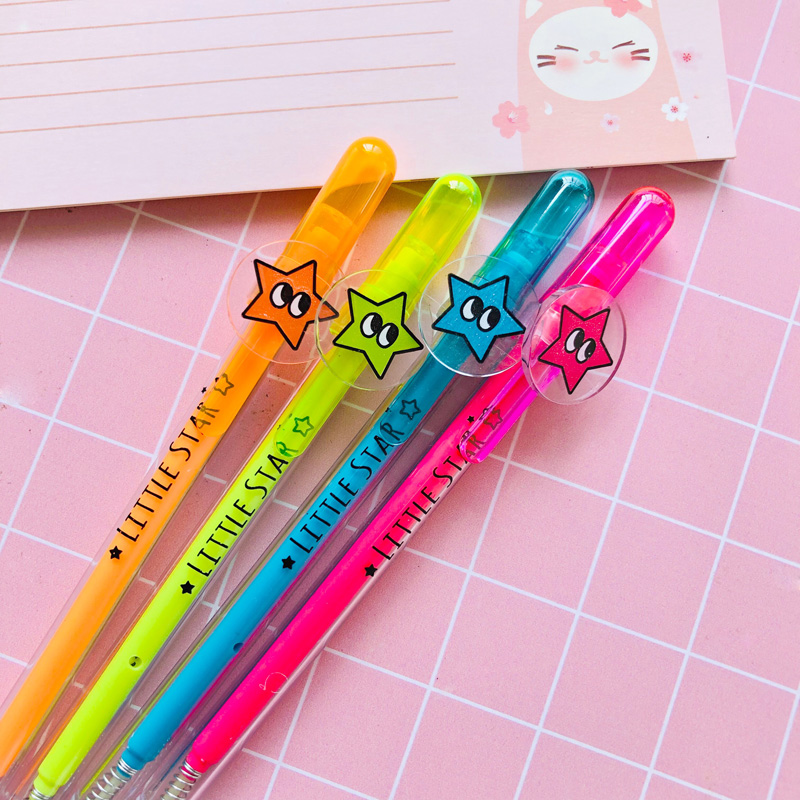 3X Lovely Big Eye Star Automatic Mechanical Pencil Writing School Office Supply Stationery 0.5mm