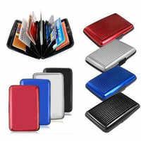 Tarjetero para tarjetas bancarias de aluminio para hombre, 1 unidad, carcasa dura con bloqueo, BILLETERA, soporte de protección para tarjeta de crédito antirfid