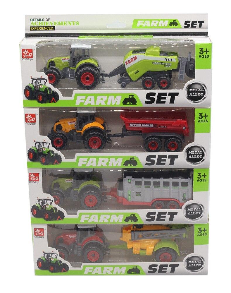 4-Alloy Farmer Car Combination Farm Toy Alloy Car Model CHILDREN'S Toy Car Stall Hot Selling Model