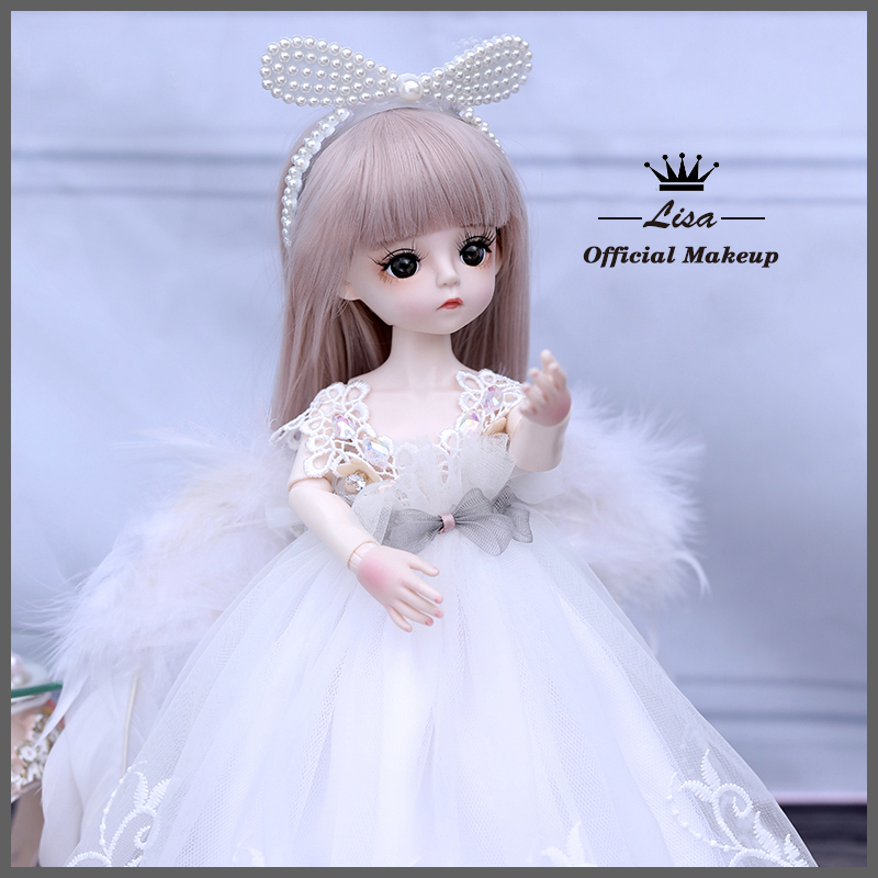 1/6 BJD Doll 18 Ball Jointed Dolls 30CM Girls Doll With White Dress Wig Shoes Makeup Toys For Girls Birthday Gifts Collection 8