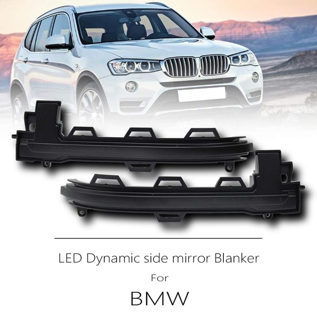 2pc LED Sequential Turn Signal Mirror Lights - (Smoked Lens) For Bmw X3 X4 X5 X6 F25  2