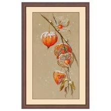 Top Quality Beautiful Lovely Counted Cross Stitch Kit Lantern Flower Red Flower Physalis Alkekengi Autumn Ground Cherry