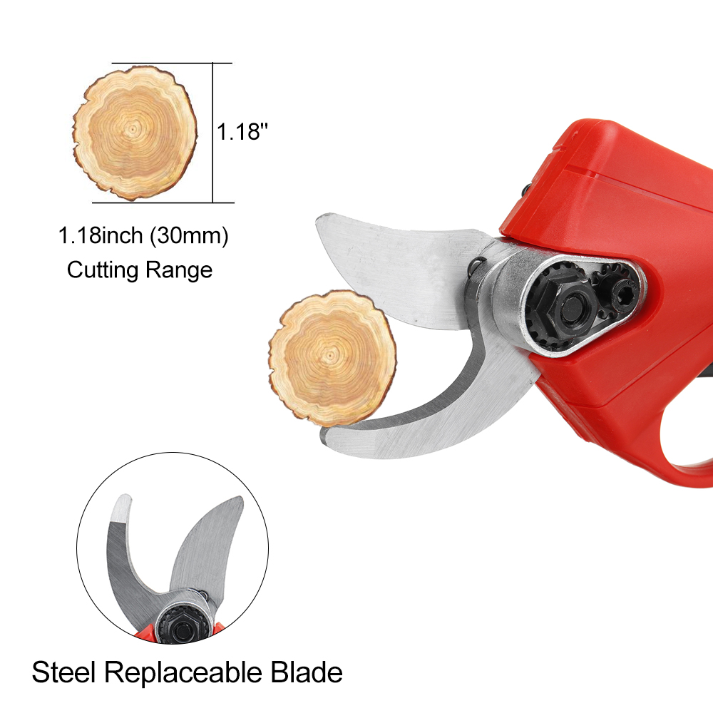 Tools : 88V 30mm Cordless Rechargeable Electric Pruning Shears Secateur Fruit Tree Branch Cutter US EU Plug 9000mah Li-ion Battery