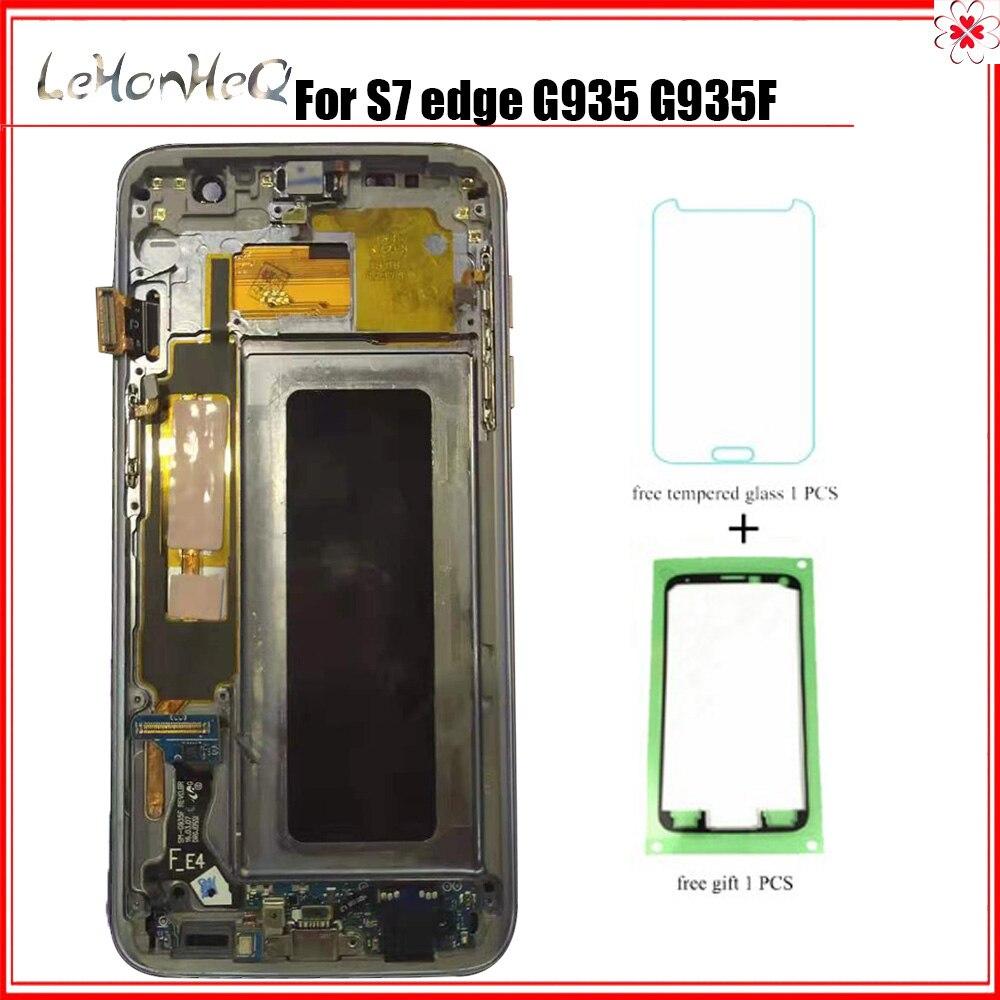 Test lcd pour Samsung Galaxy LCD S7 bord G935 G935F affichage écran tactile numériseur assemblée LCD avec cadre pour Samsung G935 LCD
