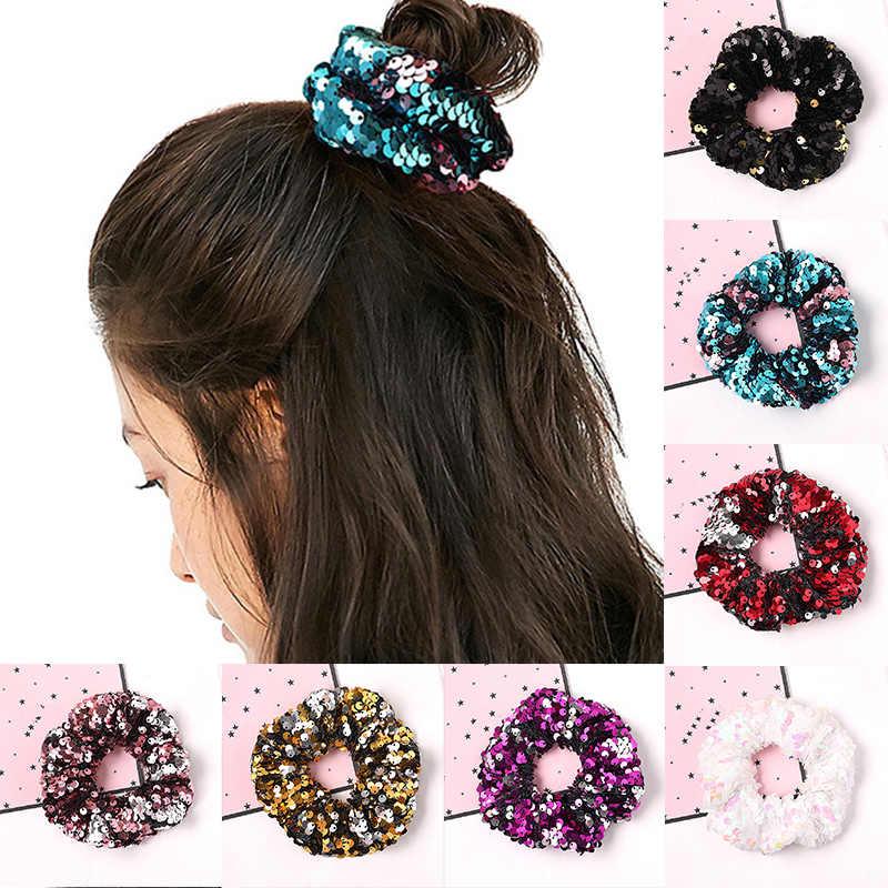 Damskie Paillette gumki do włosów miękkie Blingbling urocze Scrunchies Fashion Girls kucyk Holder przenośne akcesoria do włosów