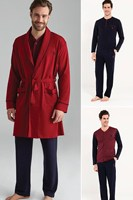 Men's Cotton Night Comfortable Sleep Cool And Long Warm Burgundy 2 Long Sleeve Pajamas + 1 Dressing Gown 5 SET SET 12002