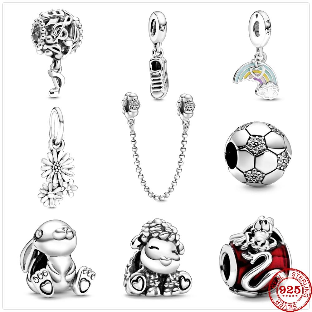 2020 Newst Bunny Shoes Rainbow & Cloud Cham Beads fit Original Pandora Charms Silver 925 Bracelet DIY Women Jewelry Berloque(China)