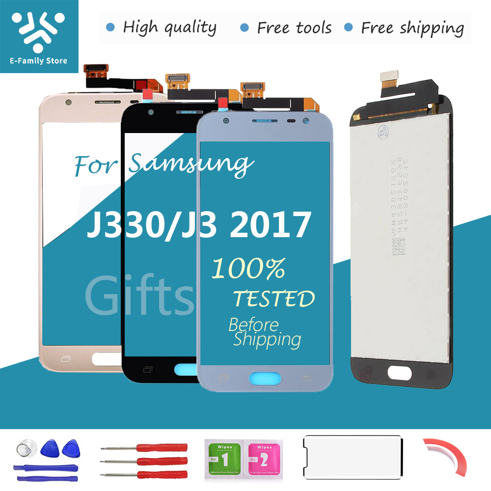 E-family New For Samsung Galaxy J3 2017 J330 J330F SM-J330 LCDs Display Touch Digitizer Screen With Brightness Control