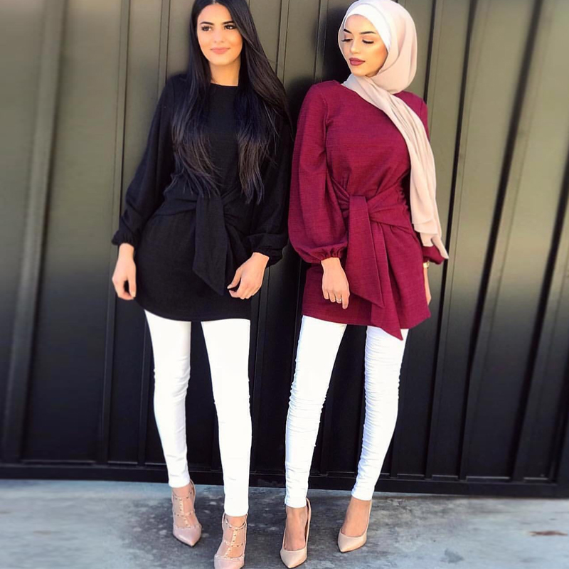 Turkey Long Women Tops Abaya Muslim Blouse Clothes Top Bokep Indonesia Vetement Femme Musulmane Arabe Ropa Musulmana Para Mujer